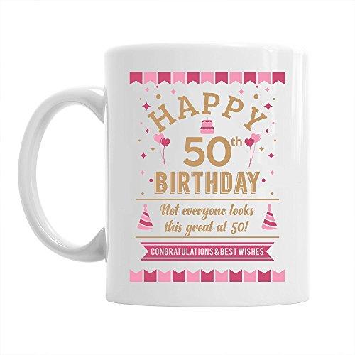 Happy 50th Birthday Mug Gift, Pink