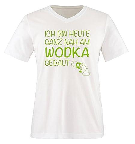Ich bin heute ganz nah am WODKA gebaut. - Herren V-Neck T-Shirt - Weiss / Grün Gr. L (Grün Wodka)