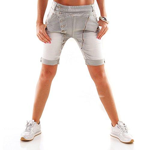 Designer Damen Jeans Secret Buttons Zipper Jeans Knöpfe Skinny Baggy Push Up Grau Kurz