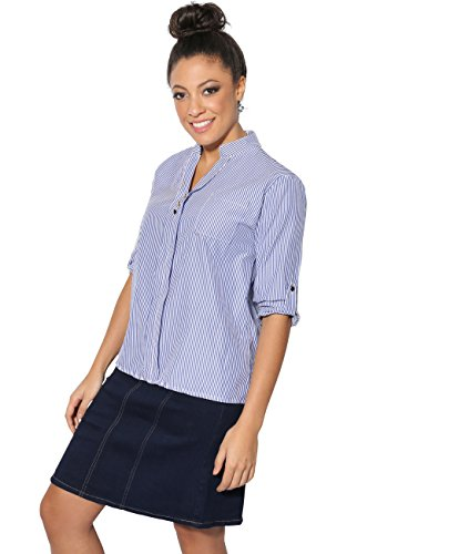 KRISP 2162-BLUWHT-SM: Pinstripe 3 Button V-Neck Shirt (Pinstripe V-neck Top)