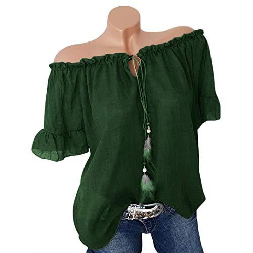 0540bf9e89e8 YOUBan Damen Bluse Lange Ärmel Top Gestreifte Druck T Shirts Tunika Weste  Shirt Knopf Fünfzackige Sternbluse Slash Neck Verband Pure Color Plus Size  Hemd ...