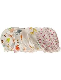 Suave algodón 5pares Cute Cartoon 0–6meses recién nacido bebé infantil anti Catch arañazos guantes manoplas al azar
