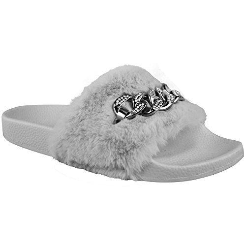Chaîne Strass Femme Slippy Slip On Sandales En Caoutchouc Sabot Pantoufles Chaussures Gris Fur Fars / Chaîne De Couleur Argent