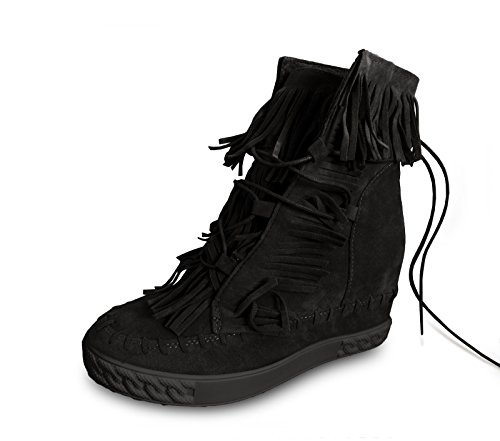 if she Damen Schuhe Halbstiefel mit 7cm Innen-Keilabsatz Wildleder-Optik mit Fransen, Farbe:Schwarz, Größe:39