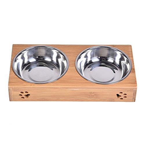 Erhöht Schalen Hund (Zaote Bambus Hund Katze Pet Feeder stehen mit Doppel Edelstahl Erhöhte Schalen Haustierfutter Futtertrog für kleine Hunde und Katzen)