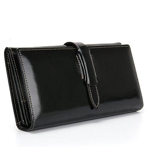 Damen Geldbörse Echtes Leder Portemonnaie Damen Lang Luxus Geldbörse Große Kapazität 10 RFID Kartenfächer 5 Geldfächer 1 Reißverschlusstasche Brieftasche Damen Geldtasche mit feiner Verpackung