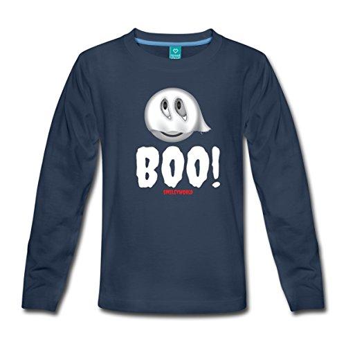 orld Halloween Niedliches Gespenst Boo Kinder Premium Langarmshirt, 122/128 (6 Jahre), Navy (Halloween-boo-t-shirt)