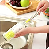 #3: GETKO WITH DEVICE Multifunction Long Handle Bottle Cleaning Brush Flexible Nylon Cleaning Tool for Wineglass Bottle Coffee Tea Glass Cup Red Color - 13.58 x 5.51 x 5.51 Inch