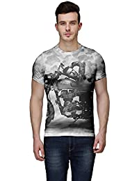 Wear Your Mind Multi-Coloured Poly Cotton Round Neck Printed T-shirt For Men CST080_3XL