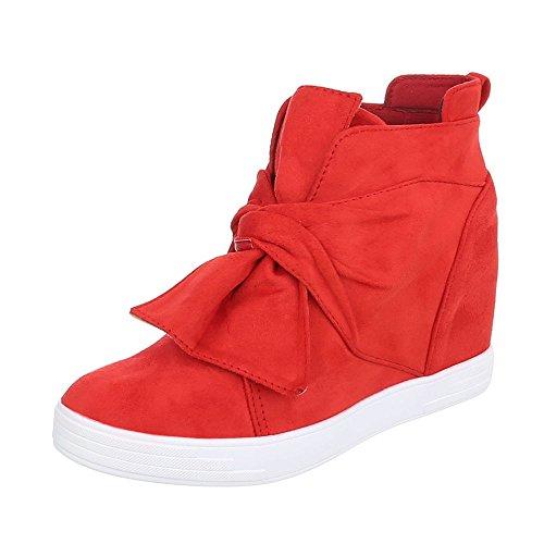 Ital-Design Keilstiefeletten Damen-Schuhe Plateau Keilabsatz Reißverschluss Stiefeletten Rot, Gr 37, 6712-Y-