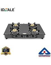Ideale Essential Stainless Steel 4 Burner Top Stove Black