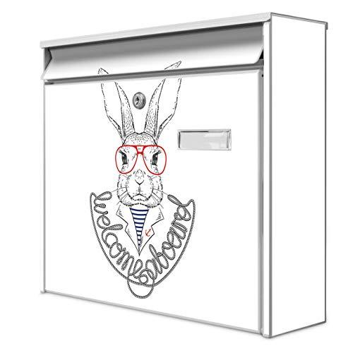 Burg Wächter Design Briefkasten | Postkasten 36 x 32 x 10cm groß | Stahl weiß verzinkt mit Namensschild | großer A4 Einwurf, 2 Schlüssel | Motiv Kapitän Hase