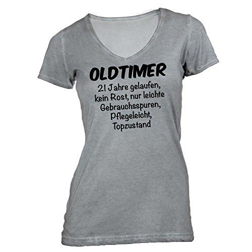 Damen T-Shirt V-Ausschnitt - Oldtimer Geburtstag 21 Jahre - Birthday 21 Years Fun Geschenkidee Grau