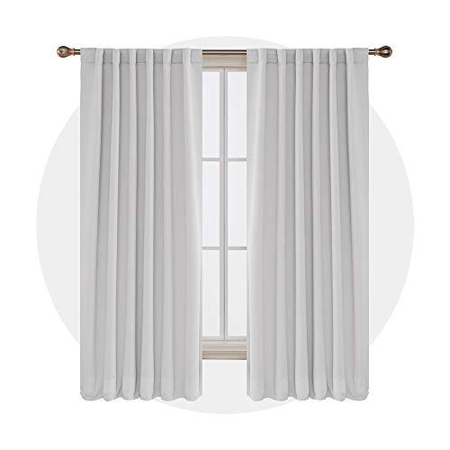 Deconovo Blickdicht Vorhang Schlaufen Verdunkelungsgardinen Gardinen Kinderzimmer Modern 214x132 cm Grau Weiß 2er Set