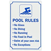 "Smartsign piscine Sign, Legend ""règles de piscine"", bleu sur blanc"