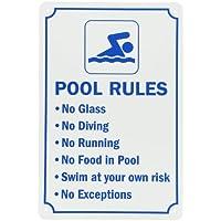 """smartsign señal de piscina, Legend """"Reglas de La Piscina, Azul sobre Blanco"""