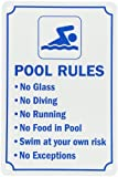 "smartsign Pool Zeichen, Legend ""Swimming Pool Rules,"" Blau auf Weiß, 18"" x 12"", Blue on White, 1"