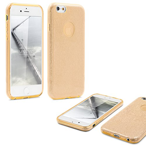 Urcover® Apple iPhone 6 / 6-s 4,7 Zoll | 2in1 Bling Glitzer Handy Schutz-hülle | Weich TPU Silikon Cover Case Pink | Backcase | Ultra-Dünn Gold