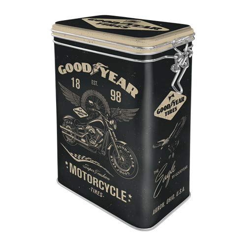 Nostalgic-Art 31116 - Goodyear - Motorcycle , Retro Aromadose, Blech-Dose , Kaffee-Dose , Aromadeckel , Metall