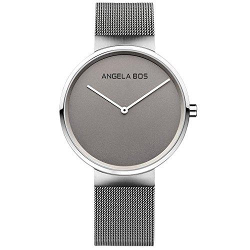 Angela Bos de la mujer ultra delgado Simple acero inoxidable cuarzo reloj de pulsera para hombres 8010gris