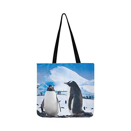 Pinguine ruhen auf steinigen Küste Antarktis Canvas Tote Handtasche Schultertasche Crossbody Taschen Geldbörsen für Männer und Frauen Einkaufstasche -