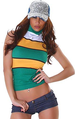 Mesdames chemise t-shirt en dentelle dentelle motif floral cou-dessus chemise sans manches à col roulé design très tendance Vert