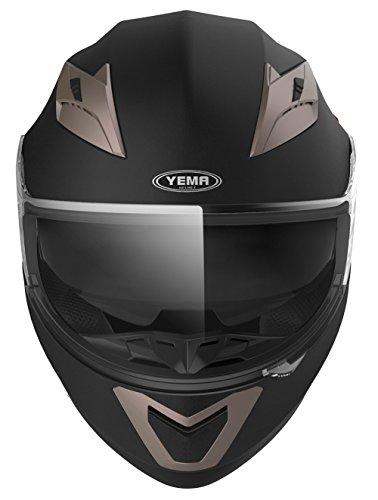 Motorradhelm Integralhelm Rollerhelm Fullface Helm – YEMA YM-829 Sturzhelm ECE mit Doppelvisier Sonnenblende für Damen Herren Erwachsene-Schwarz Matt-S - 3