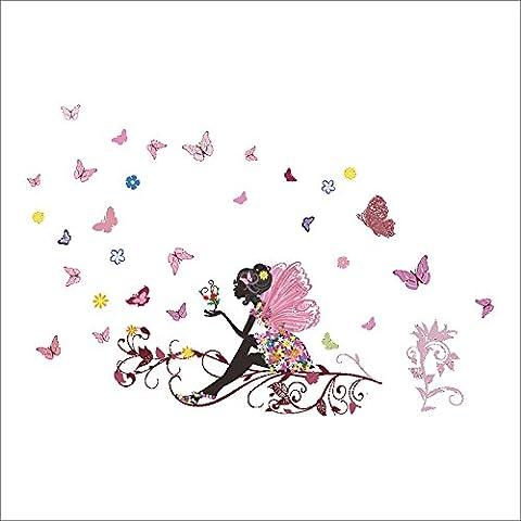 Etbotu Schlafzimmer Wohnzimmer Schmetterling Blume Faerie Wandaufkleber