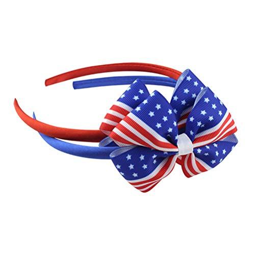 Amosfun 2 stücke Glücklich Unabhängigkeitstag Bogen Stirnband Amerikanische Flagge Bogen Stirnband Sterne und Streifen Haarband Tiara Party Dekorationen Kopfband Haarbänder für Kinder Kinder