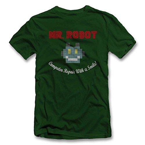 Mr Robot Computer Repair With A Smile T-Shirt S-XXL 12 Farben / Colours Dunkel Grün