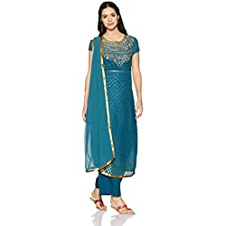 Biba Women's Straight Salwar Suit (SKD4771_Blue_32)