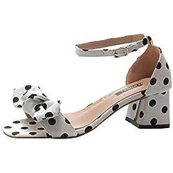 Sandalias del alto talón Impresión de lunares,Sonnena Sandalias romanas de mujer de moda Verano Wave Point Bowknot Correa de hebilla Ocio Sandalias Zapatos