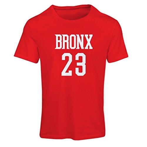 Frauen T-Shirt Bronx 23 - Street Style Mode (Medium Rot Weiß)