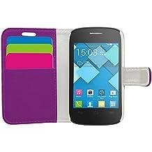 Samrick Ejecutivo Especialmente Diseñado Cuero Suave Estuche Cartera y Tarjetero Para Alcatel One Touch Pop C1 - Morado (Purple)