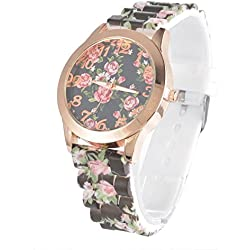 SSITG Silicone Strap Children's Watch with Black Dial Analogue Display Watch Leopard Floral