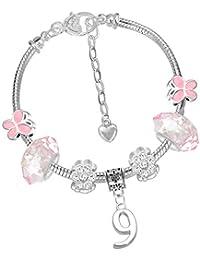 Pulsera para niñas, con mariposas rosas, para su cumpleaños, con abalorios para el cumpleaños, edad 4, 5, 6, 7, 8, 9, 10
