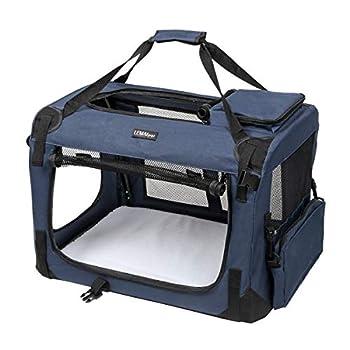 LEMAIJIAJU Caisse de Transport Chat Sac de Transport Pliable Cage de Transport pour Chien et Chat Animal Tissu Oxford Bleu Foncé - M 60cmx40cmx40cm