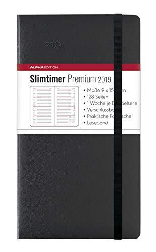 Slimtimer Premium Black 2019 - Taschenplaner / Taschenkalender (9 x 15,6) - mit Verschlussband und Falttasche - Balacron Einband - Weekly - 128 Seiten