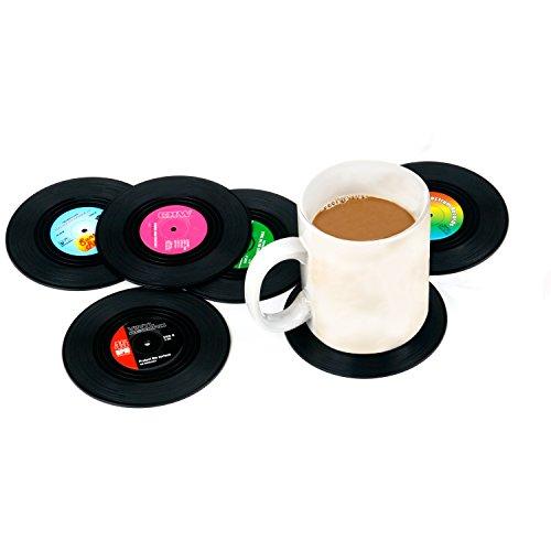 Trixes Set mit 6 verschiedenen Retro Vinyl Getränkeuntersetzern Bierdeckel -