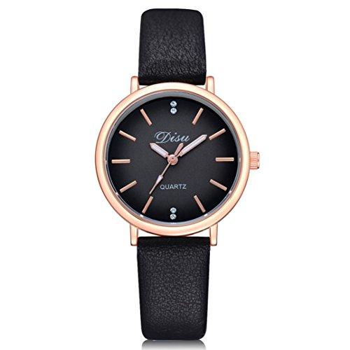 Fasching Karneval Uhren DELLIN Mode Frauen Retro Design Lederband Analog Alloy Quarz-Armbanduhr (Schwarz)