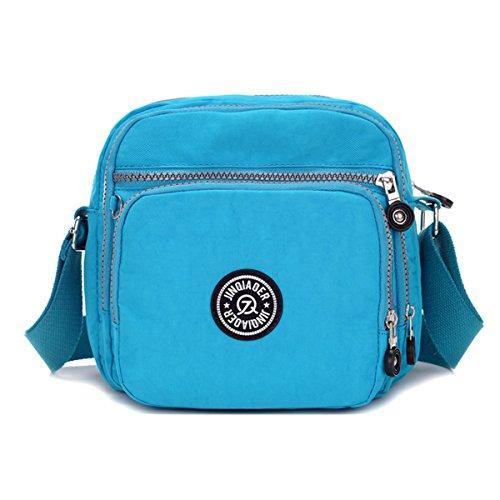 Tiny Chou - Borsa Messenger leggera e impermeabile, in nylon, con tasche Blu (Blu cielo)