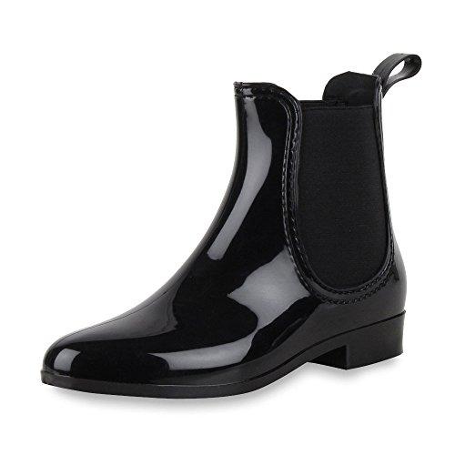 Damen Lack Stiefeletten Gummistiefel Chelsea Boots Damen STIEFELETTEN SCHWARZ (Anzug Schwarzen Frauen Kostüm)