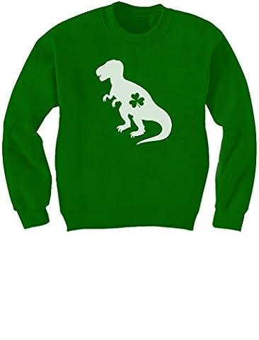 Irish T-Rex Dinosaur Clover St. Patrick's Day Gift Kids Sweatshirt X-Small Green