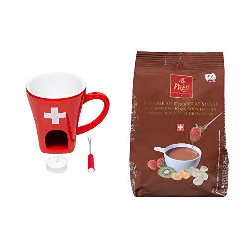 Schokofondue-Set Schweiz - Hochwertiges 3-teiliges Set inkl. Tass und 1x Schokoladen-Fondue Nachfüllbeutel von Chocolat Frey aus der Schweiz - Ideal auch als Geschenk