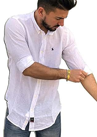 TIPO'S Camicia Lino Puro Lino MADE IN ITALY Manica Lunga Primavera/Estate 2018 (M, Bianco)