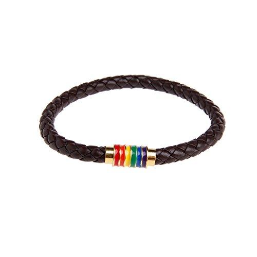 Cadania pelle intrecciata lgbt pride arcobaleno bracciali titanio magnetico gay les gioielli c