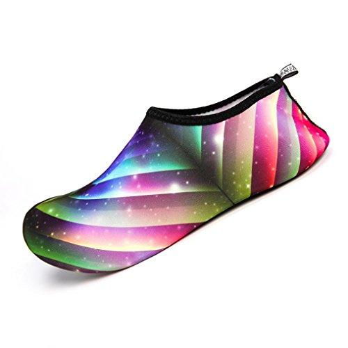 Wasser Sport Aqua Socken Schuhe HARRYSTORE Yoga Strandtanz Schwimm Slip Auf Surf Tauchschuhe für Männer Damen (33-34, Mehrfarbig) (Lace Up Sandal Strappy)