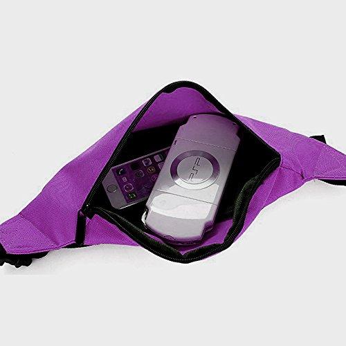 Wander-Hüfttaschen Wasserdicht Bauchtasche Jogging Tasche Gürteltasche mit Reissverschluss in 10 Farben By Sijueam Lila