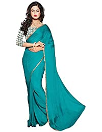Aashi Stylish Plain Chiffon Saree With Net Blouse And Fancy Border(Sea Green)