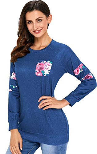 Langarm Varsity Gestreiftes Gestreift Floral Flower Panel Patchwork Perfect Blockfarben Kontrastfarbe Sweatshirt T Shirt Oberteil Top Style (Color : Dunkelblau, Size : L)